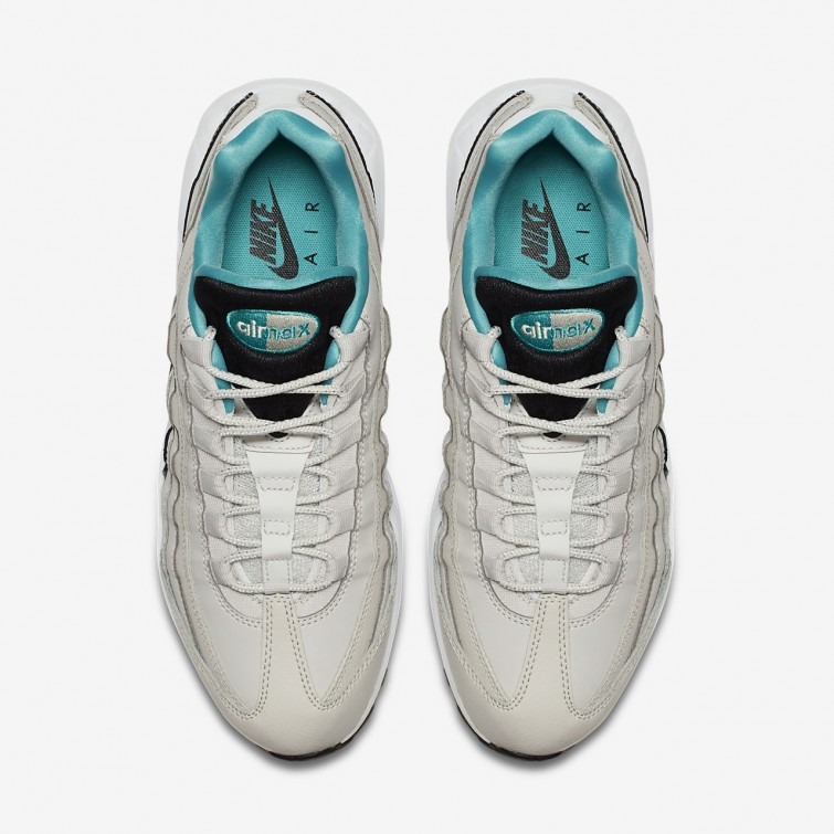 the best attitude 6c1d2 5149d ... Chaussure Casual Nike Air Max 95 Essential Homme Clair Noir/Blanche/Turquoise  749766- ...
