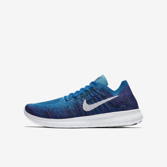 Nike Free RN Flyknit 2017 Hardloopschoenen Jongens Blauw/Zwart/Platina 881973-401