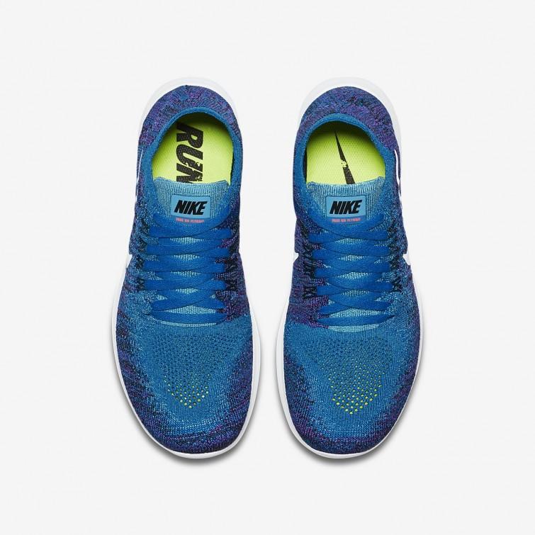 ... Nike Free RN Flyknit 2017 Running Shoes Boys Blue Orbit Black Hyper  Grape  ... 4fc8fc67a