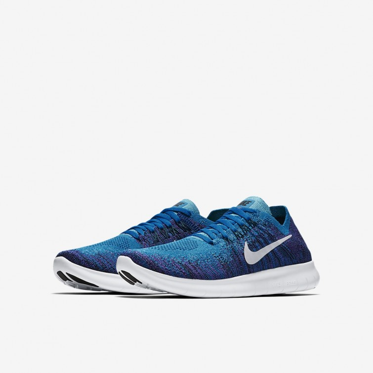 competitive price 03a31 58c8c ... Nike Free RN Flyknit 2017 Running Shoes Boys Blue OrbitBlackHyper  Grape