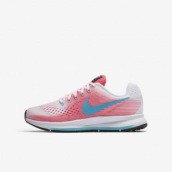 Nike Zoom Pegasus 34 Running Shoes Girls Pink/White/Black/Chlorine Blue 881954-100