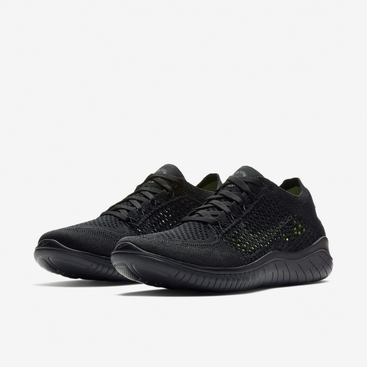 a86137bd03e0 ... Nike Free RN Flyknit 2018 Running Shoes Womens Black Anthracite  942839-002