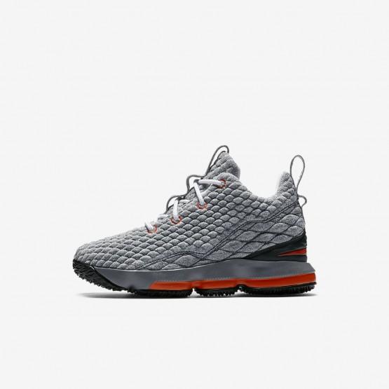 Nike LeBron 15 Basketball Shoes Boys Black/Dark Grey/Cool Grey/Safety Orange 922812-080