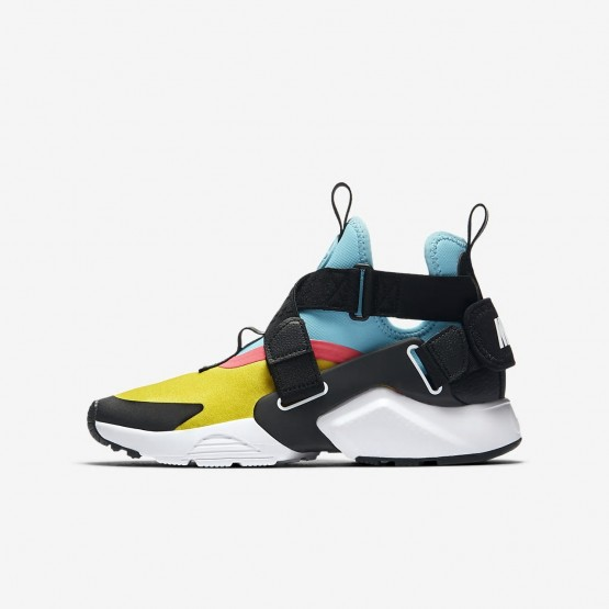 Nike Huarache City Lifestyle Shoes Boys Tour Yellow/Bleached Aqua/Racer Pink/Anthracite AJ6662-700