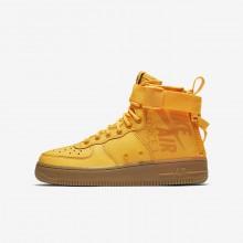 Nike SF Air Force 1 Mid Lifestyle Shoes Boys Laser Orange/Gum Medium Brown AJ0424-800