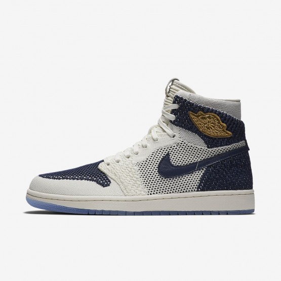 Nike Air Jordan 1 Retro High Flyknit Jeter Lifestyle Shoes Mens Sail/Midnight Navy/Metallic Gold AH7233-105