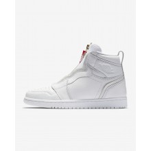 Nike Air Jordan 1 High Zip Lifestyle Shoes Womens White/University Red AQ3742-116