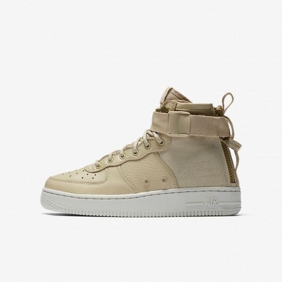 Nike SF Air Force 1 Mid Lifestyle Shoes Boys Mushroom/Light Bone AJ0424-200