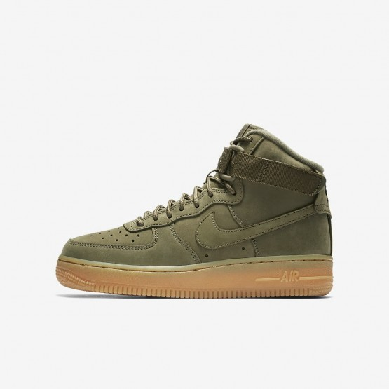 Nike Air Force 1 High WB Lifestyle Shoes Boys Medium Olive/Gum Light Brown/Black 922066-202