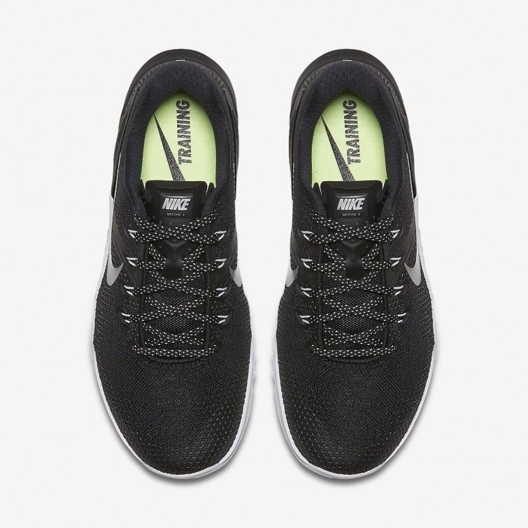 c0bc567480de ... Nike Metcon 4 Training Shoes Womens Black White Volt Glow Metallic  Silver 924593 ...