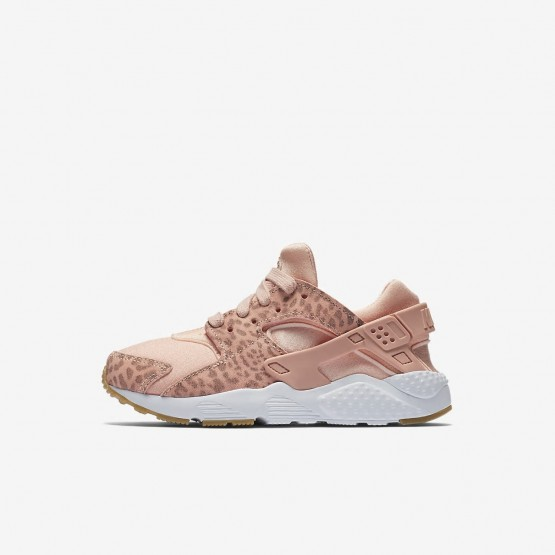 Nike Huarache SE Lifestyle Shoes Girls Coral Stardust/Gum Light Brown/White/Rust Pink 859591-603