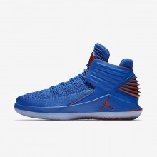 Nike Air Jordan XXXII Russ Basketballschuhe Herren Blau/Metal Silber/Orange AA1253-400