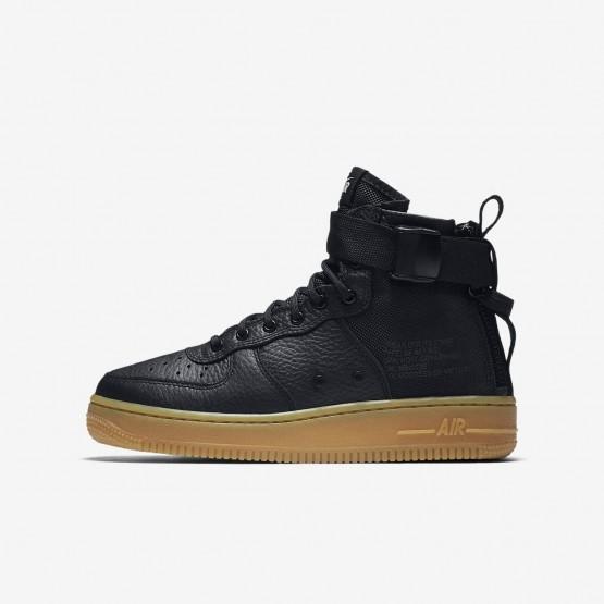 Nike SF Air Force 1 Mid Lifestyle Shoes Boys Black/Gum Light Brown AJ0424-001