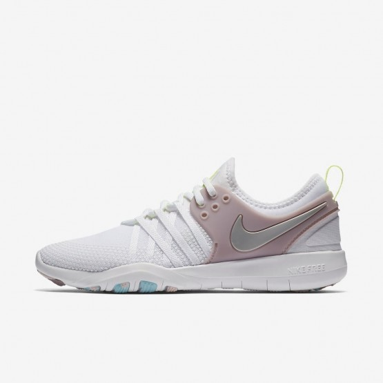 c9d77ea9b118d Nike Free TR7 Training Shoes Womens White Elemental Rose Volt Glow Metallic  Silver