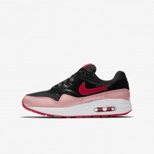 Nike Air Max 1 QS Lifestyle Shoes Girls Black/Bleached Coral/Speed Red AO1026-001