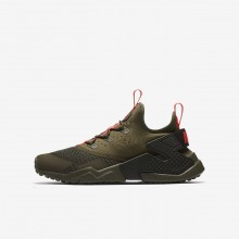 Nike Huarache Run Drift Lifestyle Shoes Boys Medium Olive/Sequoia/Total Crimson 943344-200