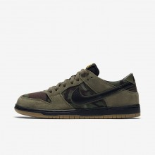 Nike SB Dunk Low Pro Skateboarding Shoes Mens Medium Olive/Gum Light Brown/University Gold/Black 854866-209