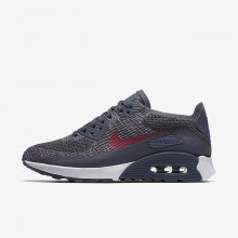 Nike Air Max 90 Ultra 2.0 Flyknit Lifestyle Shoes Womens Light Carbon/White/Fuchsia Glow/Pink Force 881109-005
