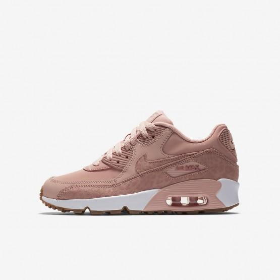 Zapatillas Casual Nike Air Max 90 SE Leather Niña Coral/Blancas/Marrones Claro/Rosas 897987-601