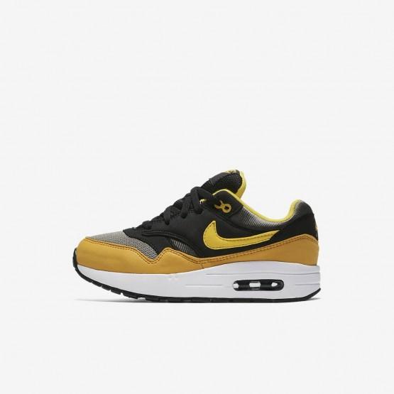 Nike Air Max 1 Casual Schoenen Jongens Donker/Zwart/Geel 807603-007