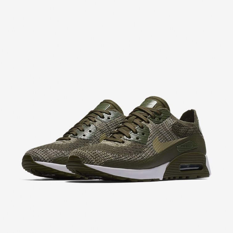 ... Nike Air Max 90 Ultra 2.0 Flyknit Lifestyle Shoes Womens Cargo Khaki  White Neutral c1cf99f18