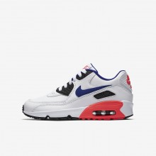 Nike Air Max 90 Leather Casual Schoenen Jongens Wit/Rood/Zwart 833412-112