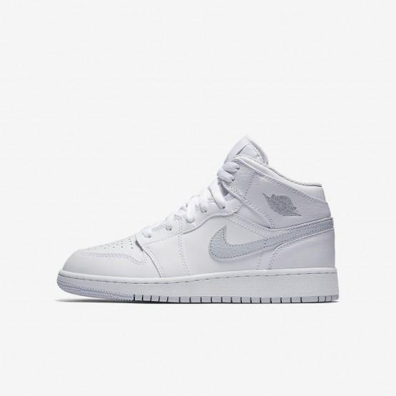 Nike Air Jordan 1 Mid Lifestyle Shoes Boys White/Pure Platinum 554725-108