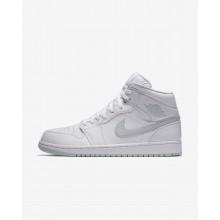 Nike Air Jordan 1 Mid Casual Schoenen Heren Wit/Platina 554724-108