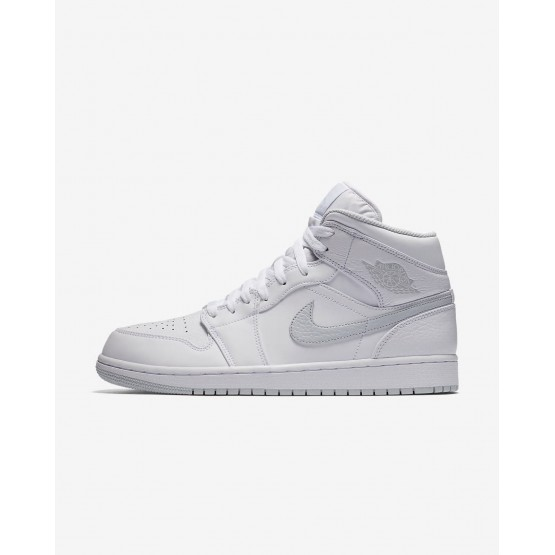 Nike Air Jordan 1 Mid Lifestyle Shoes Mens White/Pure Platinum 554724-108