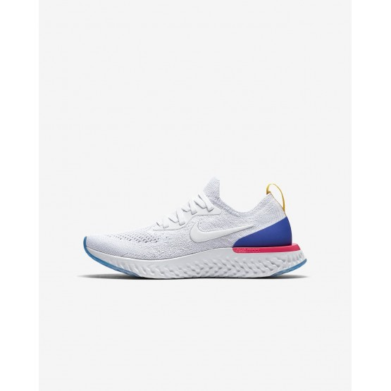 Nike Epic React Flyknit Hardloopschoenen Jongens Wit/Blauw/Roze 943311-101