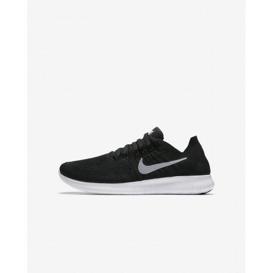 Nike Free RN Flyknit 2017 Running Shoes Boys Black/Dark Grey/Metallic Silver 881973-003