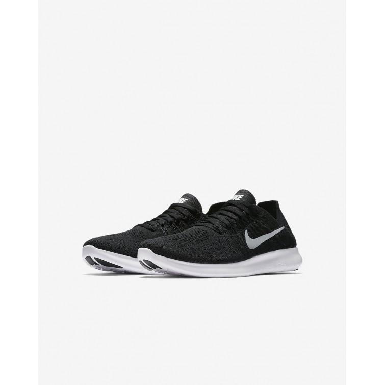9d9e43e6aabdc ... Nike Free RN Flyknit 2017 Running Shoes Boys Black Dark Grey Metallic  Silver 881973