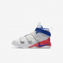 Nike LeBron Soldier XI Basketball Shoes Boys White/Infrared/Pure Platinum/Racer Blue AJ7576-101