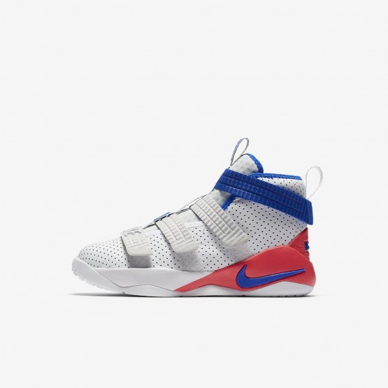 Nike LeBron Soldier XI SFG Basketball Shoes Boys White/Infrared/Pure Platinum/Racer Blue AJ7576-101
