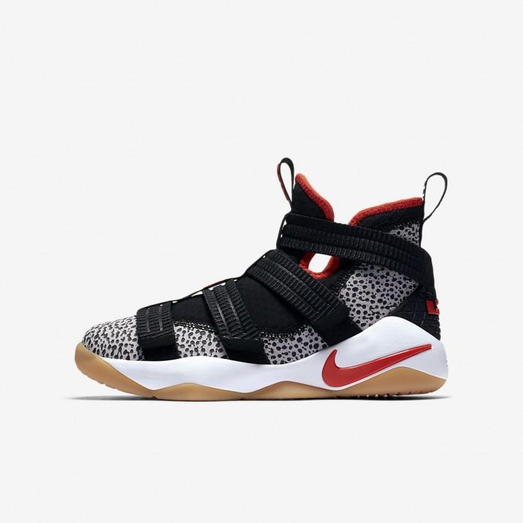 b1a321b123b4d Nike LeBron Soldier XI Basketball Shoes Boys Black White Atmosphere  Grey Team Orange