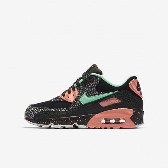 Nike Air Max 90 Pinnacle QS Lifestyle Shoes Boys Black/Crimson Pulse/Vast Grey/Green Glow AJ2776-001