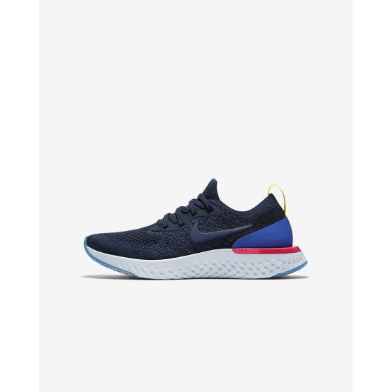 Nike Epic React Flyknit Running Shoes Boys College Navy/Racer Blue/Pink Blast 943311-400