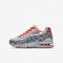 Nike Air Max 95 QS Lifestyle Shoes Boys White/Black/Bright Crimson AH3808-100