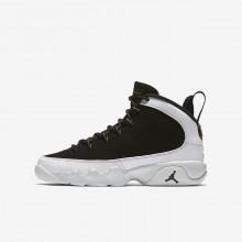 Nike Air Jordan 9 Retro Lifestyle Shoes Boys Black/Summit White/Metallic Gold 302359-021