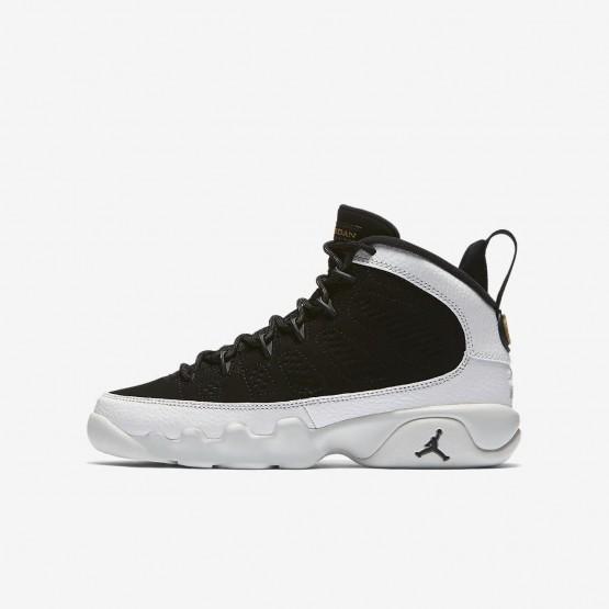 Nike Air Jordan 9 Retro Lifestyle Shoes Boys Black/Summit White/Metallic Gold 302359-021