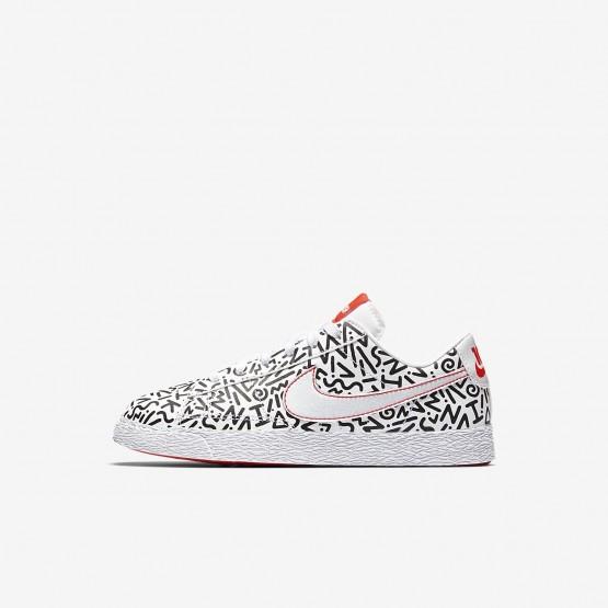 Nike Blazer Lifestyle Shoes Boys White/Black/Bright Crimson AO1034-100