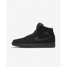Zapatillas Casual Nike Air Jordan 1 Mid Hombre Negras/Blancas 554724-040