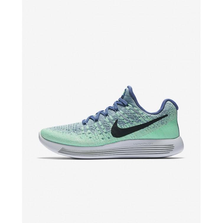 cb5ee9703028 Nike LunarEpic Low Flyknit 2 Running Shoes Womens Blue Moon Vapor  Green Green Glow
