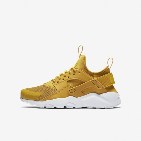Nike Air Huarache Ultra Lifestyle Shoes Boys Mineral Yellow/Pure Platinum/Vivid Sulfur 847569-700