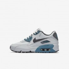 Nike Air Max 90 Leather Lifestyle Shoes Boys Pure Platinum/Noise Aqua/Dark Grey/Cool Grey 833412-018