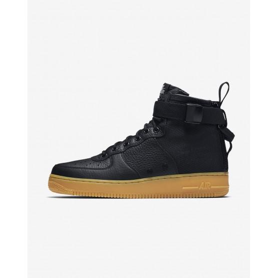 Nike SF Air Force 1 Mid Lifestyle Shoes Mens Black/Gum Light Brown 917753-003