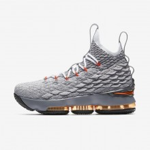 Nike LeBron 15 Basketball Shoes Boys Black/Dark Grey/Wolf Grey/Safety Orange 922811-080