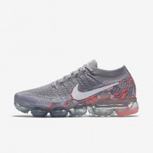 Nike Air VaporMax Flyknit Camo Running Shoes Womens Atmosphere Grey/White/Hot Punch AH8448-001