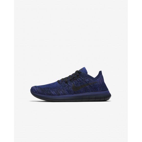 Nike Free RN Flyknit 2017 Running Shoes Boys Deep Royal Blue/Persian Violet/Pink Blast/Black 881973-403