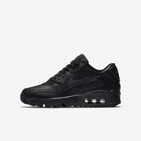 Zapatillas Casual Nike Air Max 90 Leather Niño Negras 833412-001
